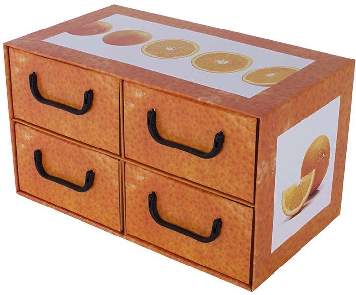 Pudełko kartonowe 4 szuflady poziome OWOCE POMARAŃCZA