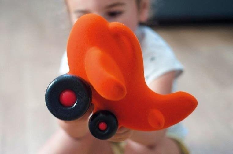 Rubbabu - Samolot Sensoryczny Pomarańczowy Duży