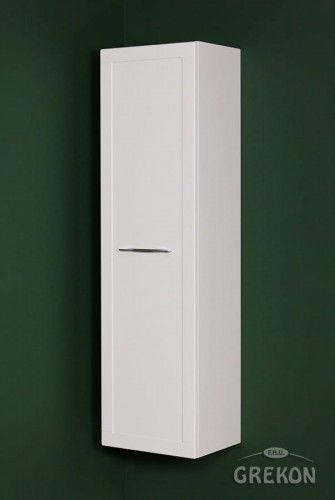Regał łazienkowy biały 40x144cm, chromowany uchwyt, styl Skandynawski, Gante Petto Bianco