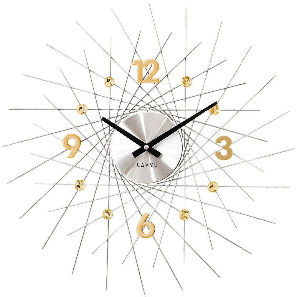 Zegar ścienny LAVVU LCT1054 z kryształkami, średnica 49,5 cm