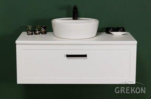 Szafka łazienkowa biała 100cm z umywalką ceramiczną, czarny uchwyt, Styl Skandynawski, Gante Petto Bianco