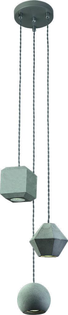 Lampa wisząca Geometric 9695 Nowodvorski Lighting potrójna betonowa oprawa w kolorze szarym