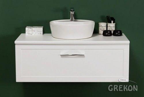 Szafka łazienkowa biała 100cm z umywalką ceramiczną, chromowany uchwyt, Styl Skandynawski, Gante Petto Bianco