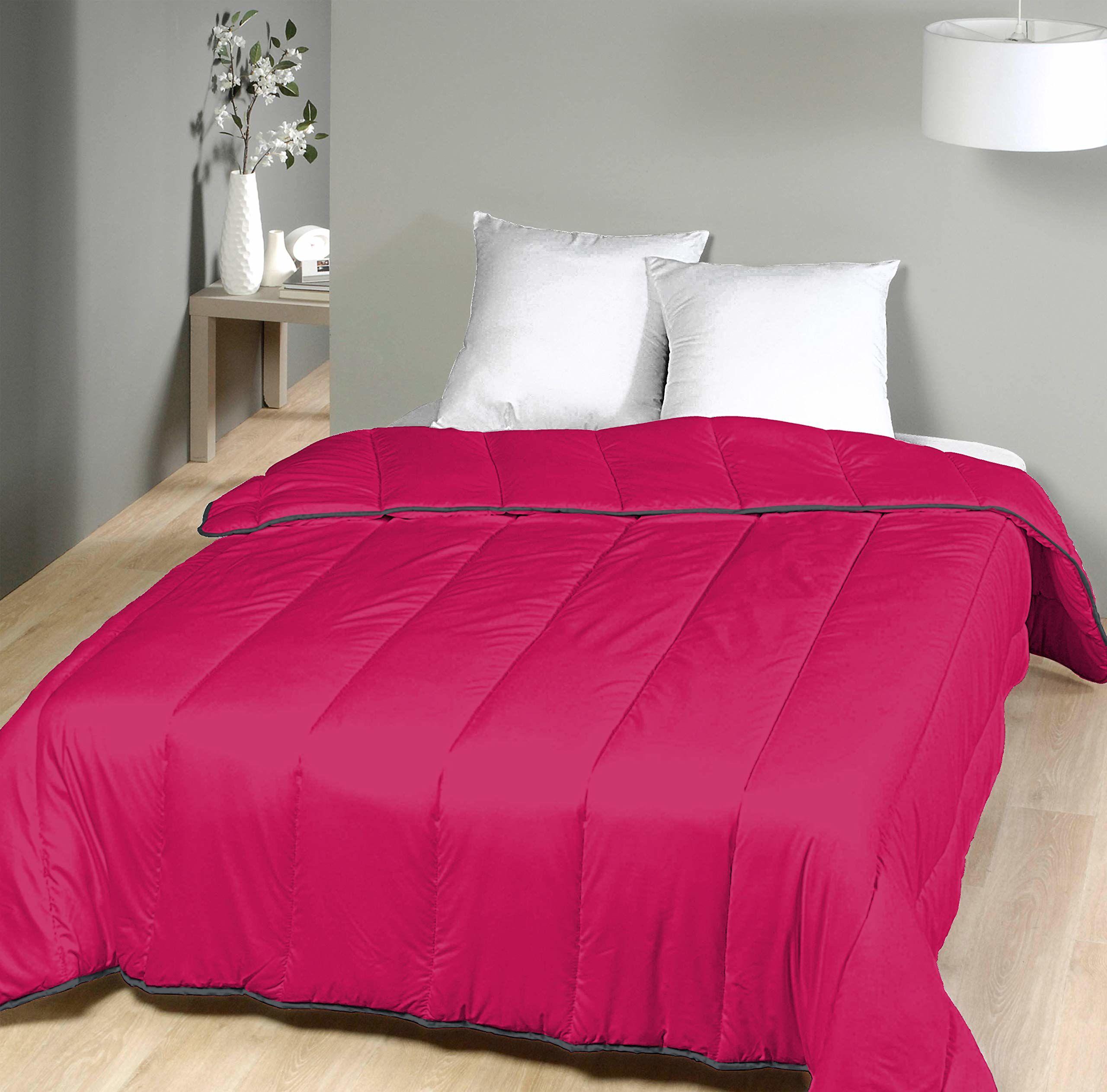 Laurentmortreux Kołdra pikowana, 240 x 260 cm, ciepła, poliester, 240 x 260 cm, Hot Pink