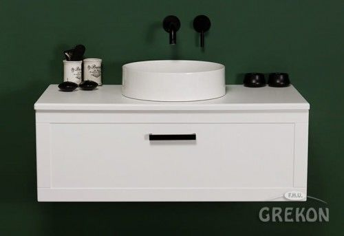 Szafka łazienkowa biała 100cm z umywalką dolomitową, czarny uchwyt, Styl Skandynawski, Gante Petto Bianco
