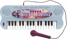 Lexibook K703FZ_50 Frozen 2 Królowa lodu Elsa Anna Olaf elektroniczna klawiatura z jednorożcem, 32 przyciskami, mikrofon do śpiewania, 22 utwory demo, zasilanie bateryjne, kolor niebieski/fioletowy