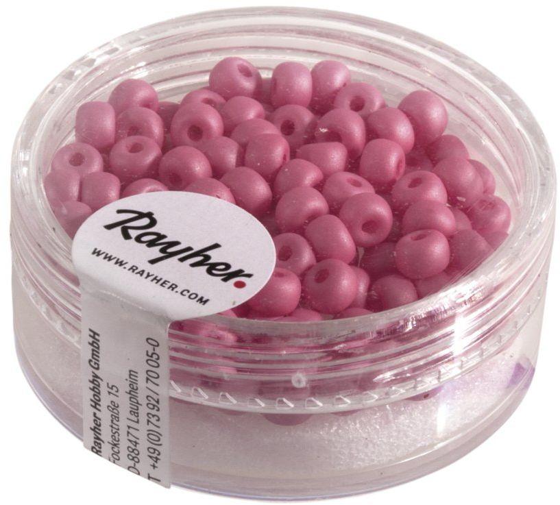 Rayher 14690276 Silk-Bead koraliki szklane Rocailles, średnica 4 mm, puszka 120 sztuk, fuksja