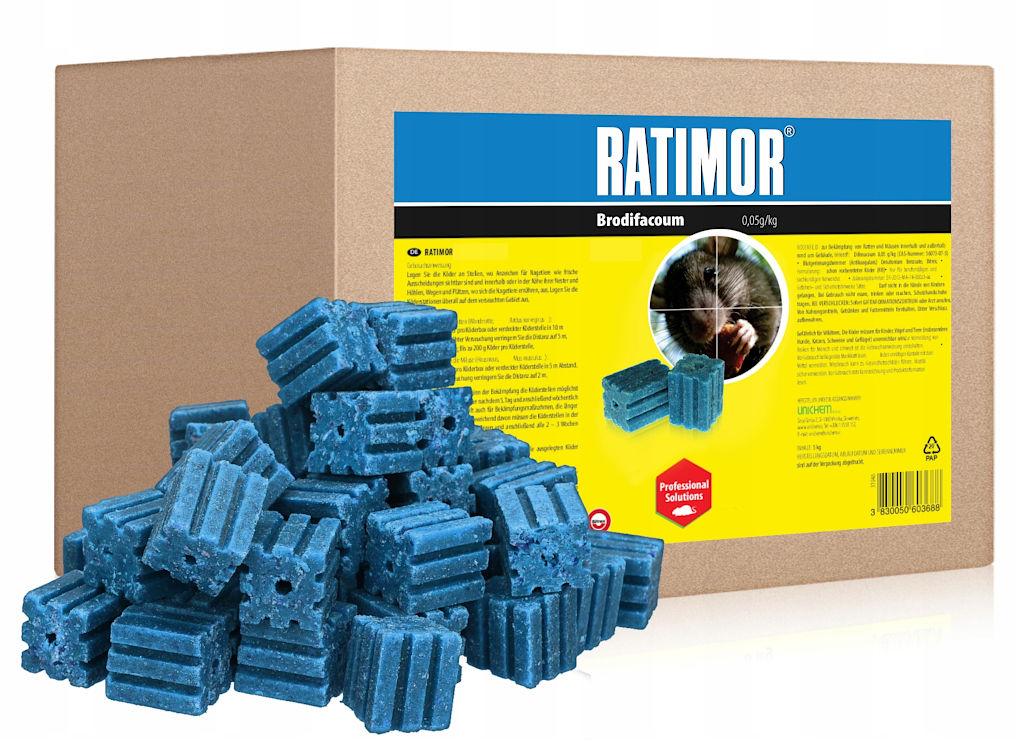 5kg Trutka na szczury, myszy, gryzonie. Ratimor brodifakum kostka.