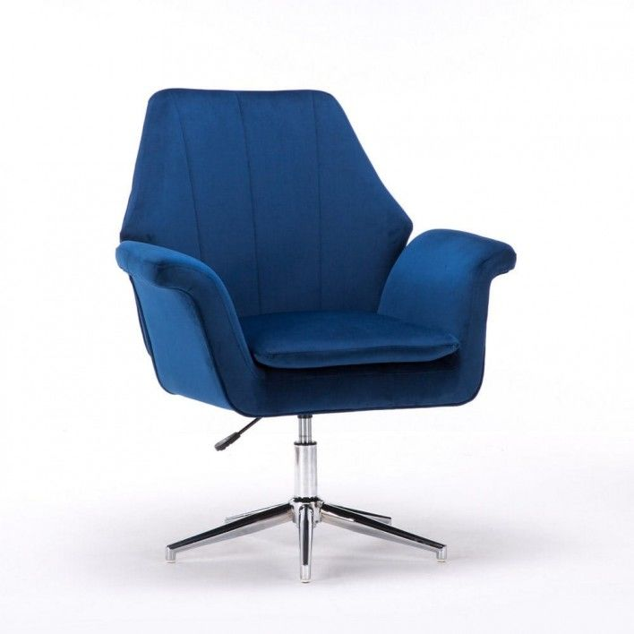 Fotel obrotowy niebieski ERNESTO (SC-M9038) / welur, niebieski
