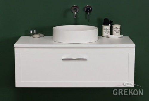 Szafka łazienkowa biała 100cm z umywalką dolomitową, chromowany uchwyt, Styl Skandynawski, Gante Petto Bianco