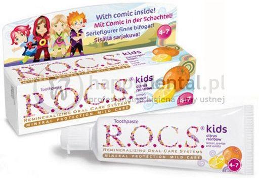 R.O.C.S. KIDS Cirtus Rainbow 35ml - pasta do zębów bez fluoru dla dzieci od 4 do 7 lat o smaku owoców cytrusowych i słodkiej wanilii