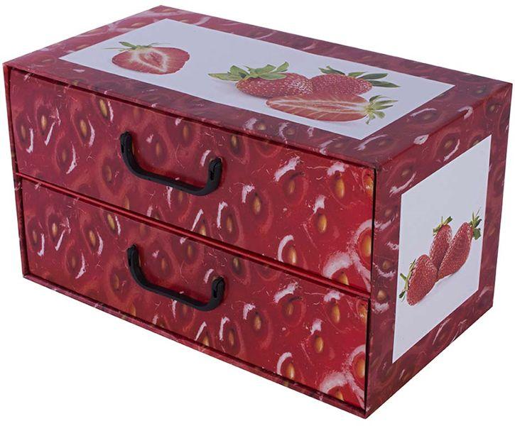 Pudełko kartonowe 2 szuflady poziome OWOCE TRUSKAWKA