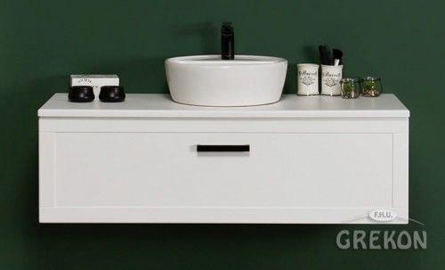 Szafka łazienkowa biała 120cm z umywalką ceramiczną, czarny uchwyt, Styl Skandynawski, Gante Petto Bianco