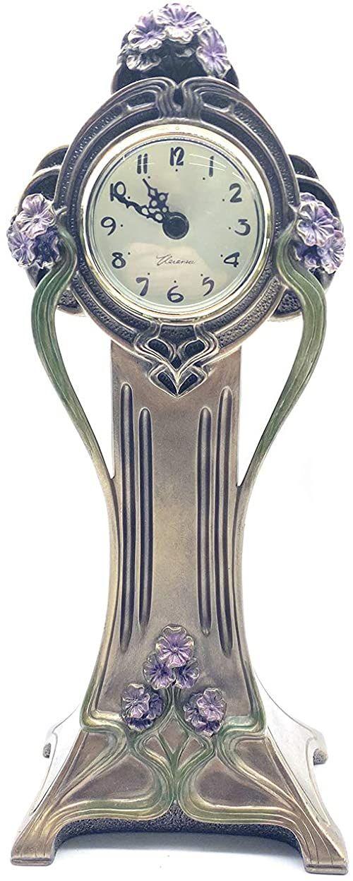 Veronese Kolekcja, ręcznie malowany zegar stołowy orchidei, 12 x 7 x 27 cm twarda żywica poliestrowa (mieszanka proszku marmuru) zegar biurkowy