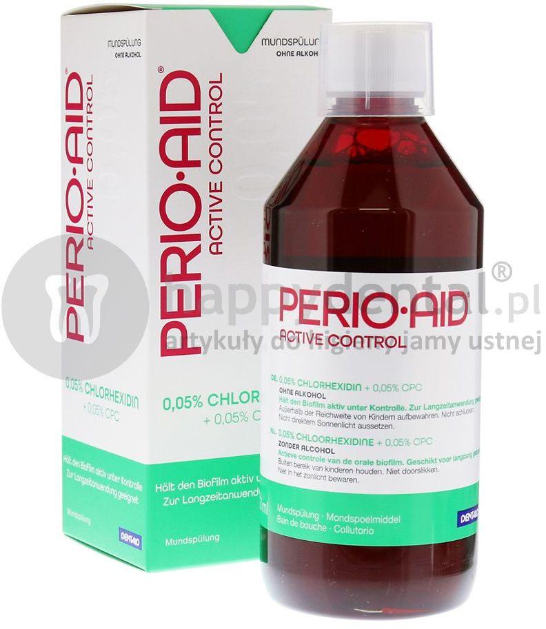 Dentaid PERIO-AID Active Control 0,05% CHX 500ml - płukanka dentystyczna zawierająca 0,05% Chlorheksydyny + Chlorku Cetylopirydyny 0,05% (DUŻA)