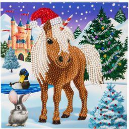 Crystal Art Zimowy koń: Klub Zwierzęcy Międzynarodowy Kryształ Sztuka Zestaw kart 18 x 18 cm