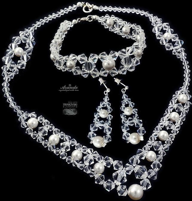 Piękny komplet Swarovski Crystal Pearl ślub srebro