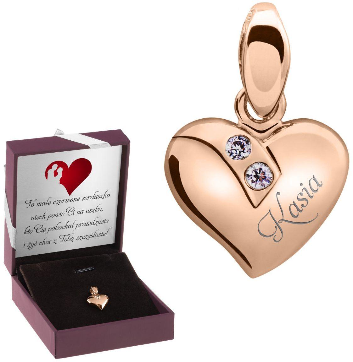 Wisiorek srebrny serce pozłacane różowe złoto pr. 925 Grawer Urodziny