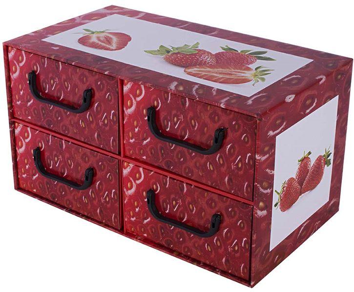 Pudełko kartonowe 4 szuflady poziome OWOCE TRUSKAWKA