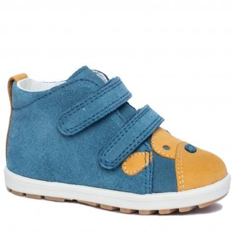 Bartek Baby First Step 717340001 trzewiki, półbuty profilaktyczne skórzane dla dzieci - niebieski- żółty