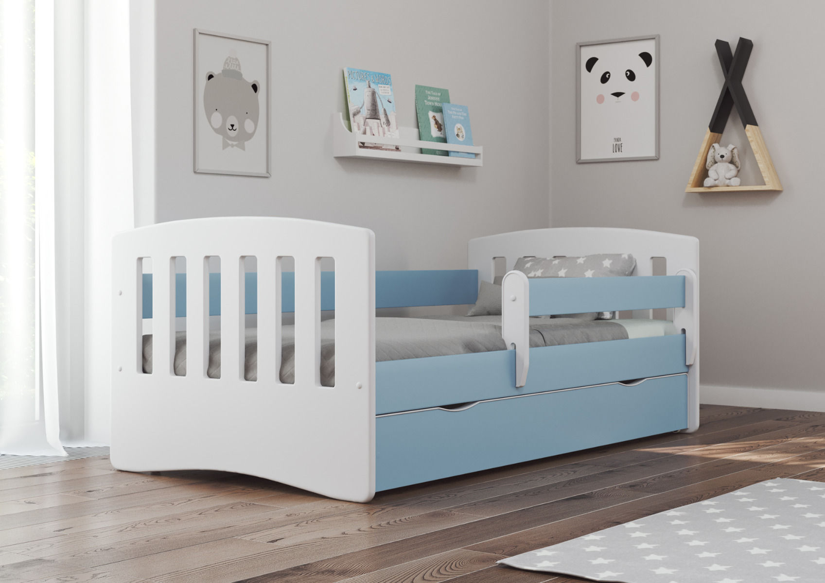 Łóżko dziecięce CLASSIC 1 180x80 niebieskie