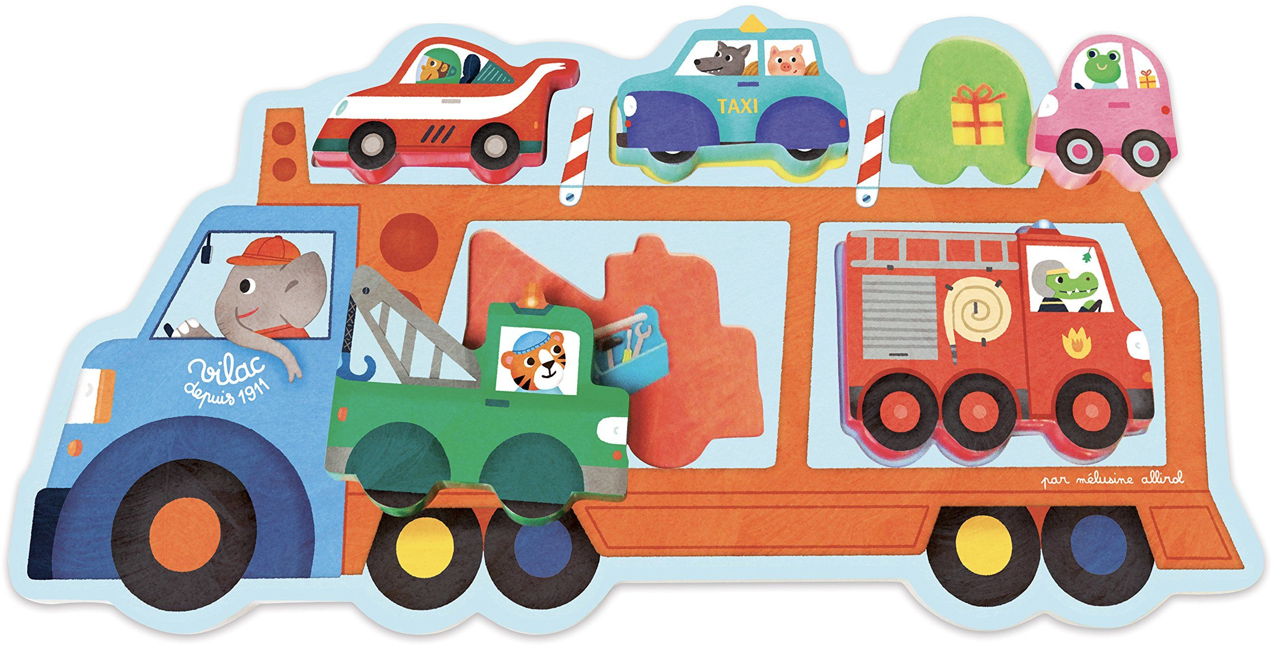 Vilac Vilac4630 Puzzle transportowe ciężarówki, wielokolorowe