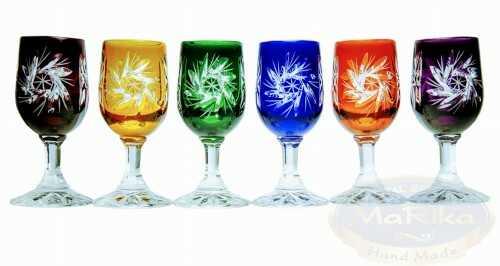 Kolorowe kryształowe kieliszki do wódki 25ml Młynek Oliwka 6 sztuk