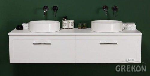 Szafka łazienkowa biała 160cm z dwiema umywalkami dolomitowymi, chromowany uchwyt, Styl Skandynawski, Gante Petto Bianco
