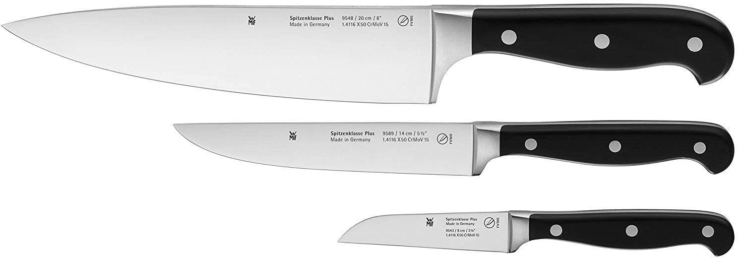 WMF Spitzenklasse Plus 3-częściowy zestaw noży, 3 noże kuchenne, kute noże szefa kuchni, noże do przygotowywania warzyw