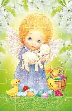 Puzzle wielkanocne z aniołkiem