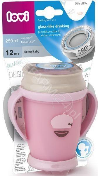 Lovi Kubek 360  Retro Baby junior 1/589 jasnoróżowy, 250 ml