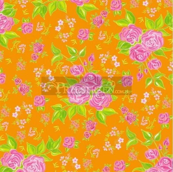 SERWETKI PAPIEROWE - Różyczki na pomarańczowym tle