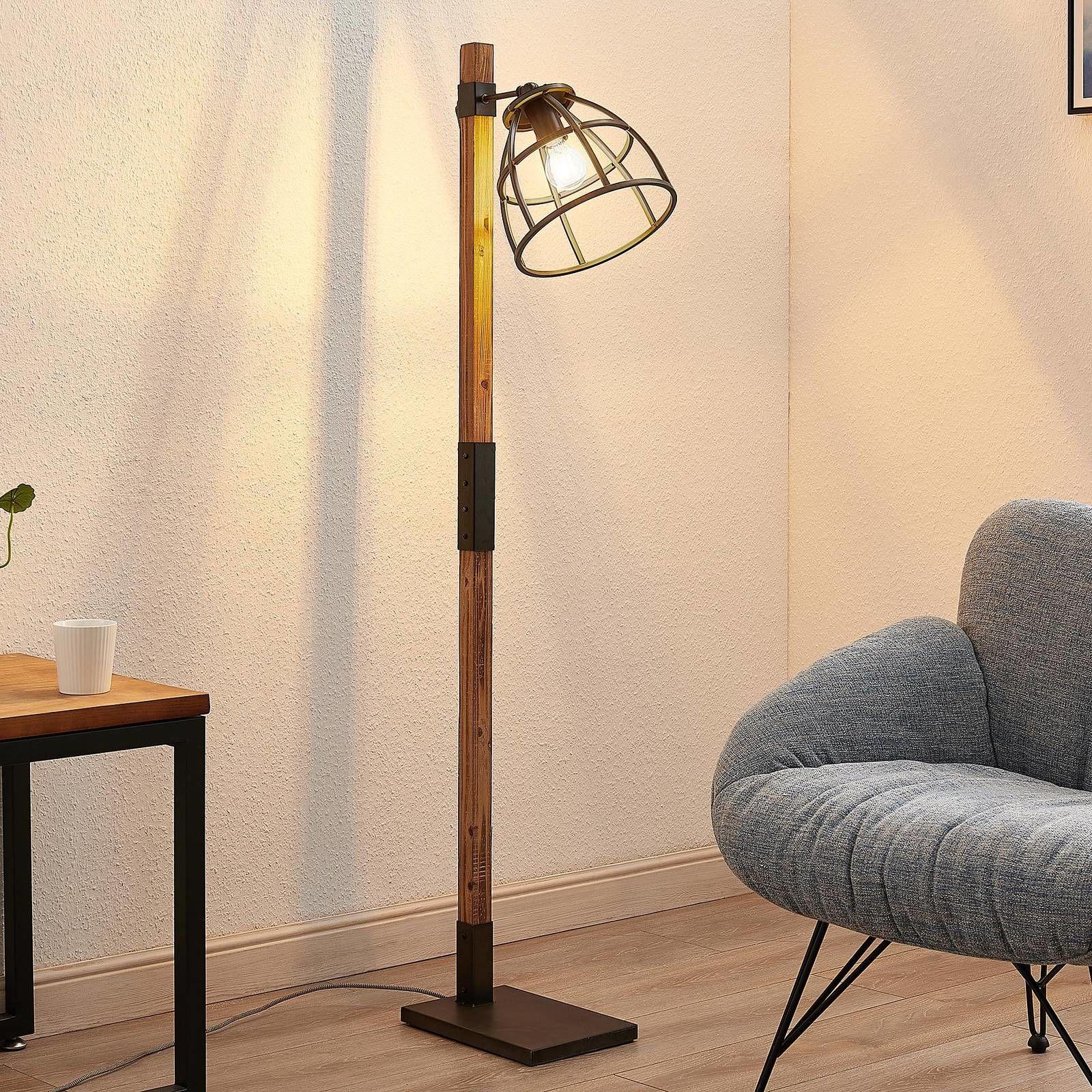 Lindby Tanina lampa stojąca z klatkowym kloszem