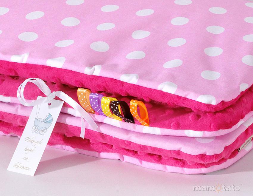MAMO-TATO Komplet kocyk Minky do wózka + poduszka Grochy różowe / fuksja - ocieplony WYPRZEDAŻ