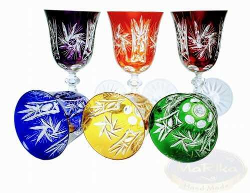 Kolorowe kryształowe kieliszki do wina 220ml Młynek Oliwka 6 sztuk