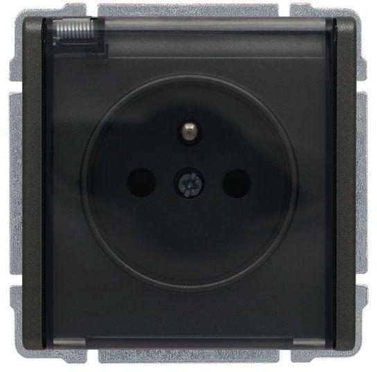 KOS66 Gniazdo bryzgoszczelne z/u IP44 z przesłonami klapka dymna grafit 666040