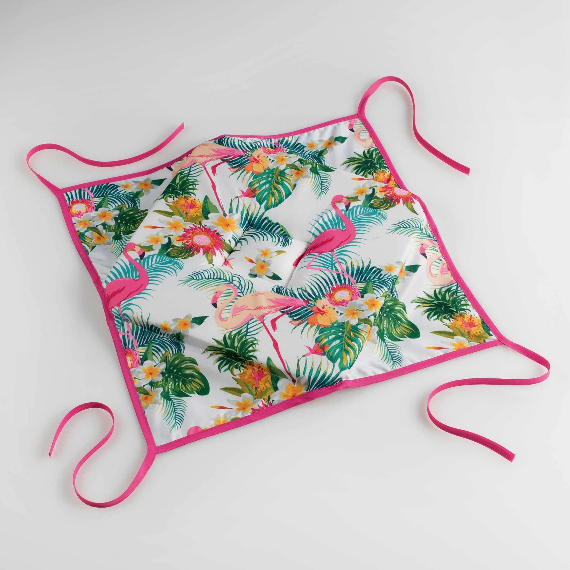 Kiesel, 4 klapy, 36 x 36 x 3,5 cm, poliester, z nadrukiem, flamingi Beach, biały