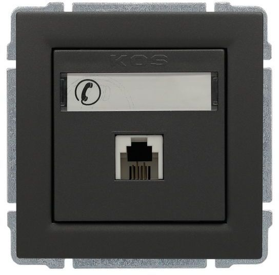KOS66 Gniazdo telefoniczne pojedyncze RJ11 grafit 666063