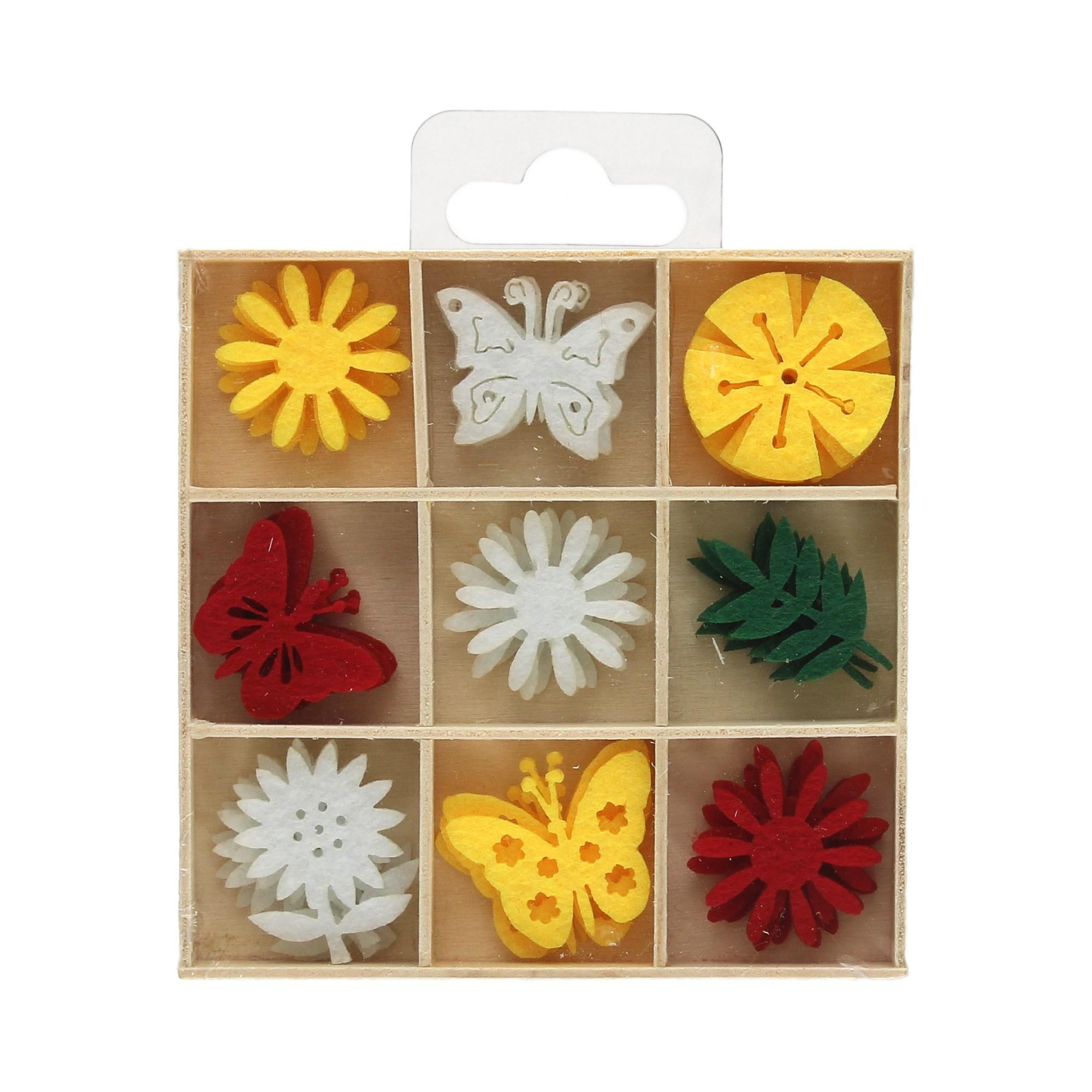 Zestaw ozdoby filcowe Kwiaty/Motyle (36)
