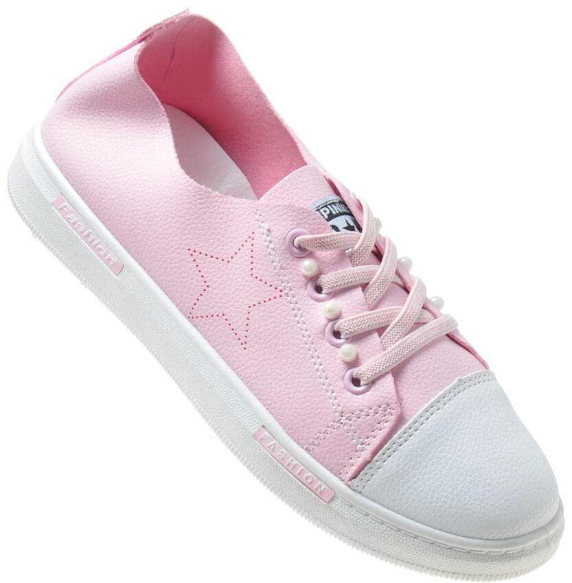 Pantofelek24.pl Różowe damskie trampki z perełkami