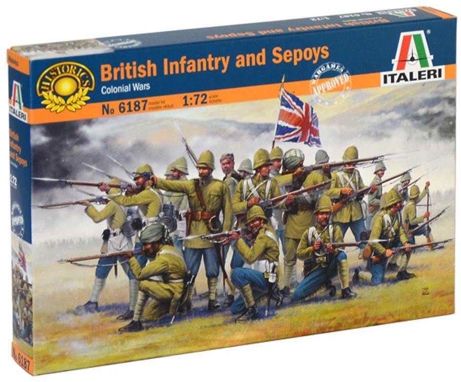 ITALERI 6187S  1:72 brytyjskie Infantry and Sepoys, modelarstwo, zestaw do budowania modeli stojących, majsterkowanie, klejenie, zestaw plastikowy, wierny szczegółom