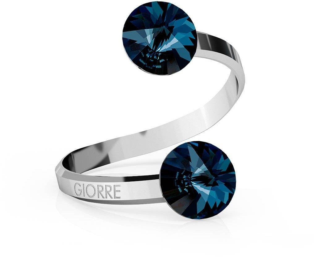 Srebrny pierścionek Swarovski rivoli 8mm, srebro 925 : Kryształy - kolor - Montana, Srebro - kolor pokrycia - Pokrycie platyną