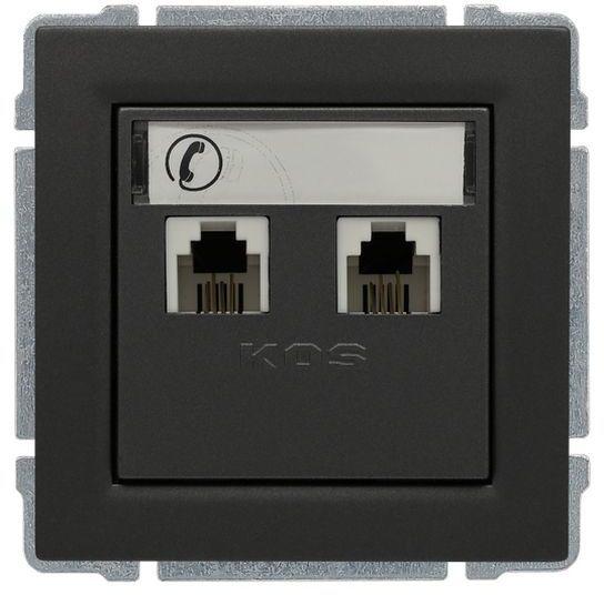 KOS66 Gniazdo telefoniczne podwójne 2xRJ11 grafit 666064