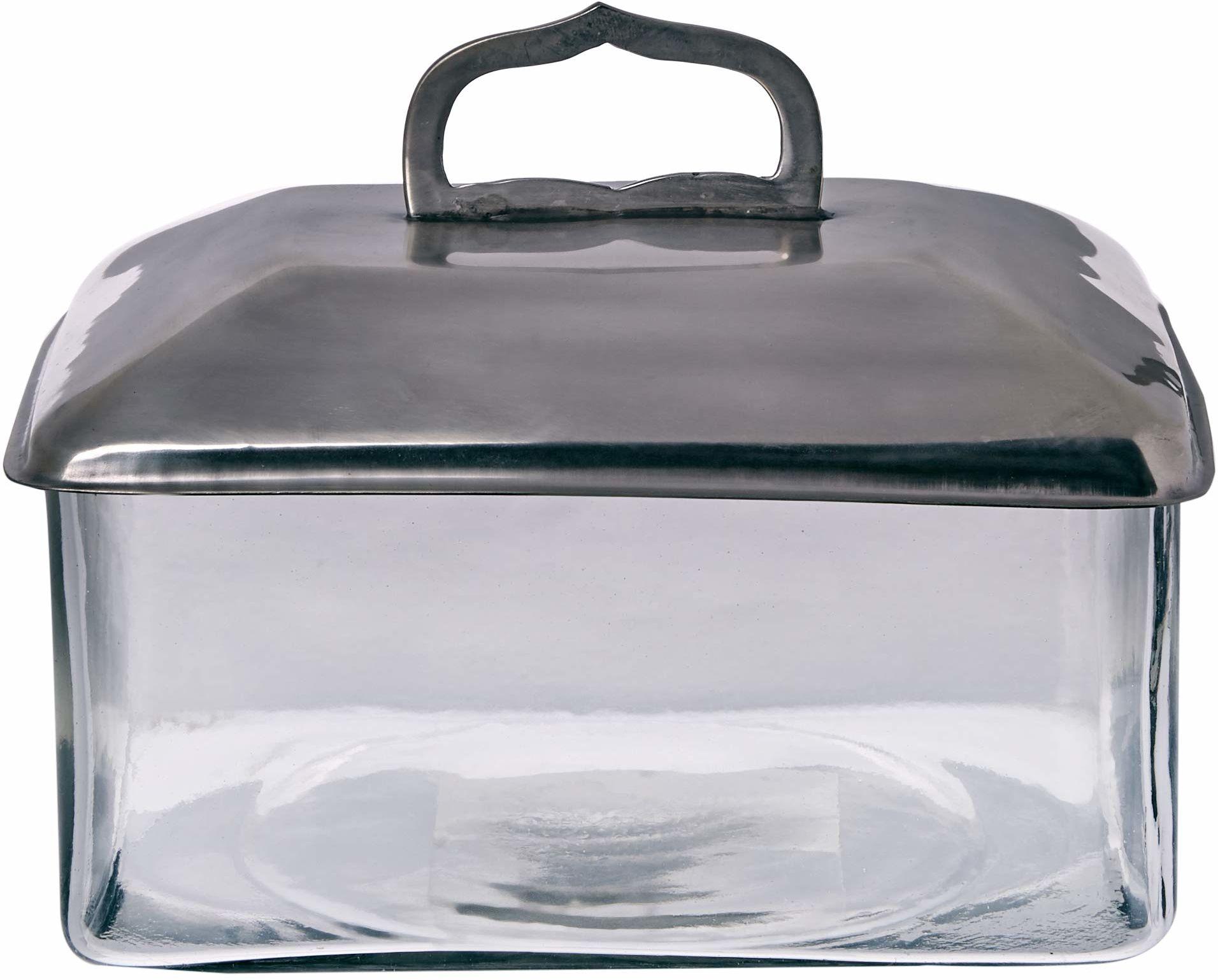 Better & Best 0552333  szklane prostokątne pudełko z pokrywką duże srebro z uchwytem w kształcie łuku