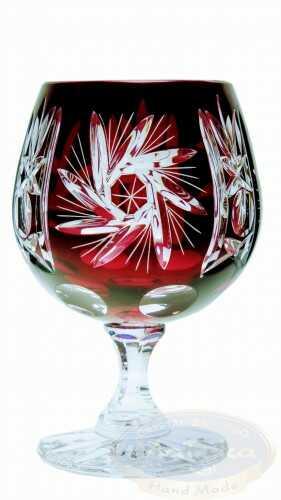 Rubinowe kryształowe kieliszki do koniaku 250ml Młynek Oliwka 6 sztuk