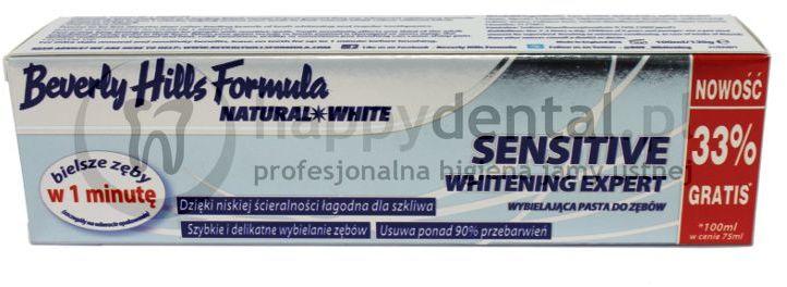 BEVERLY HILLS NATURAL WHITE Sensitive Whitening Expert 75+25ml - wybielająca pasta do zębów wrażliwych, łagodzi ból i delikatnie rozjaśnia szkliwo