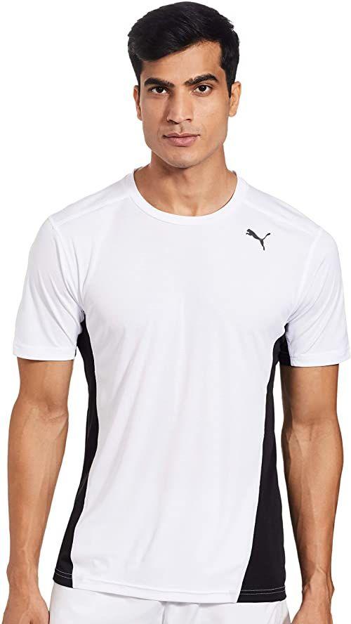 PUMA męska koszulka Cross the Line koszulka, biała czarna, XL