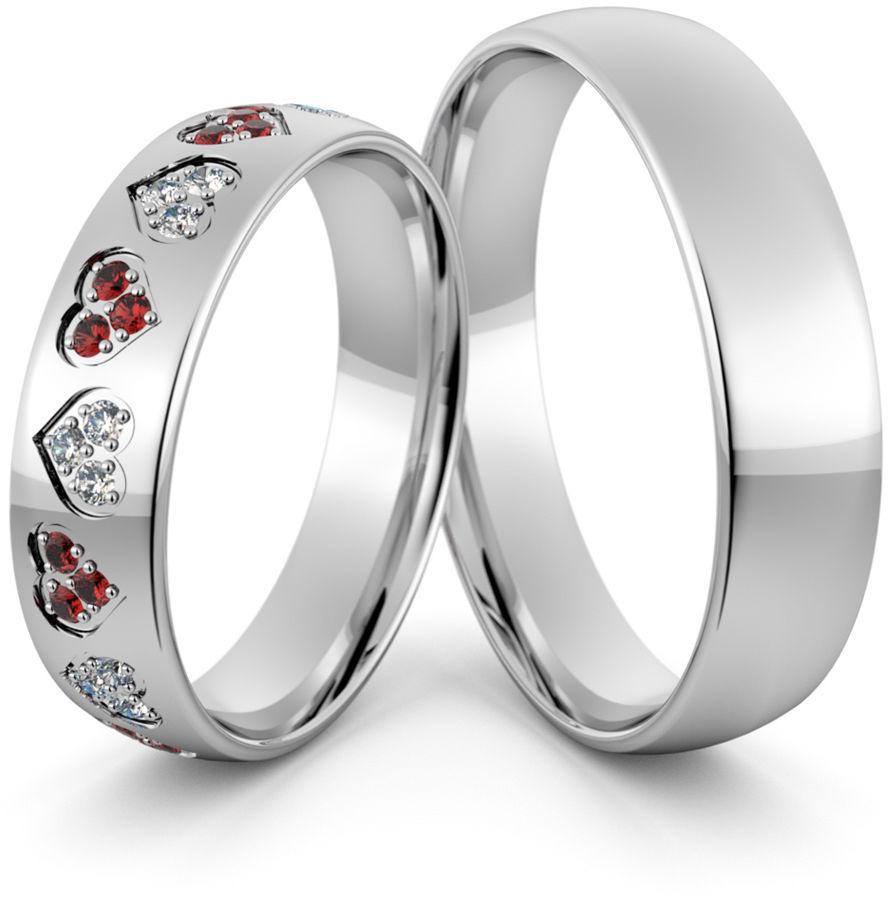 Obrączki srebrne z sercami rubinami i cyrkoniami - wzór Ag-413