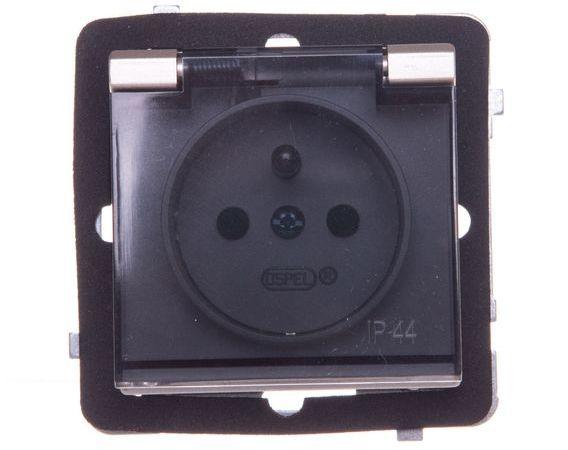 SONATA Gniazdo bryzgoszczelne z/u IP44 z przesłonami klapka ecru GPH-1RZP/m/27/w
