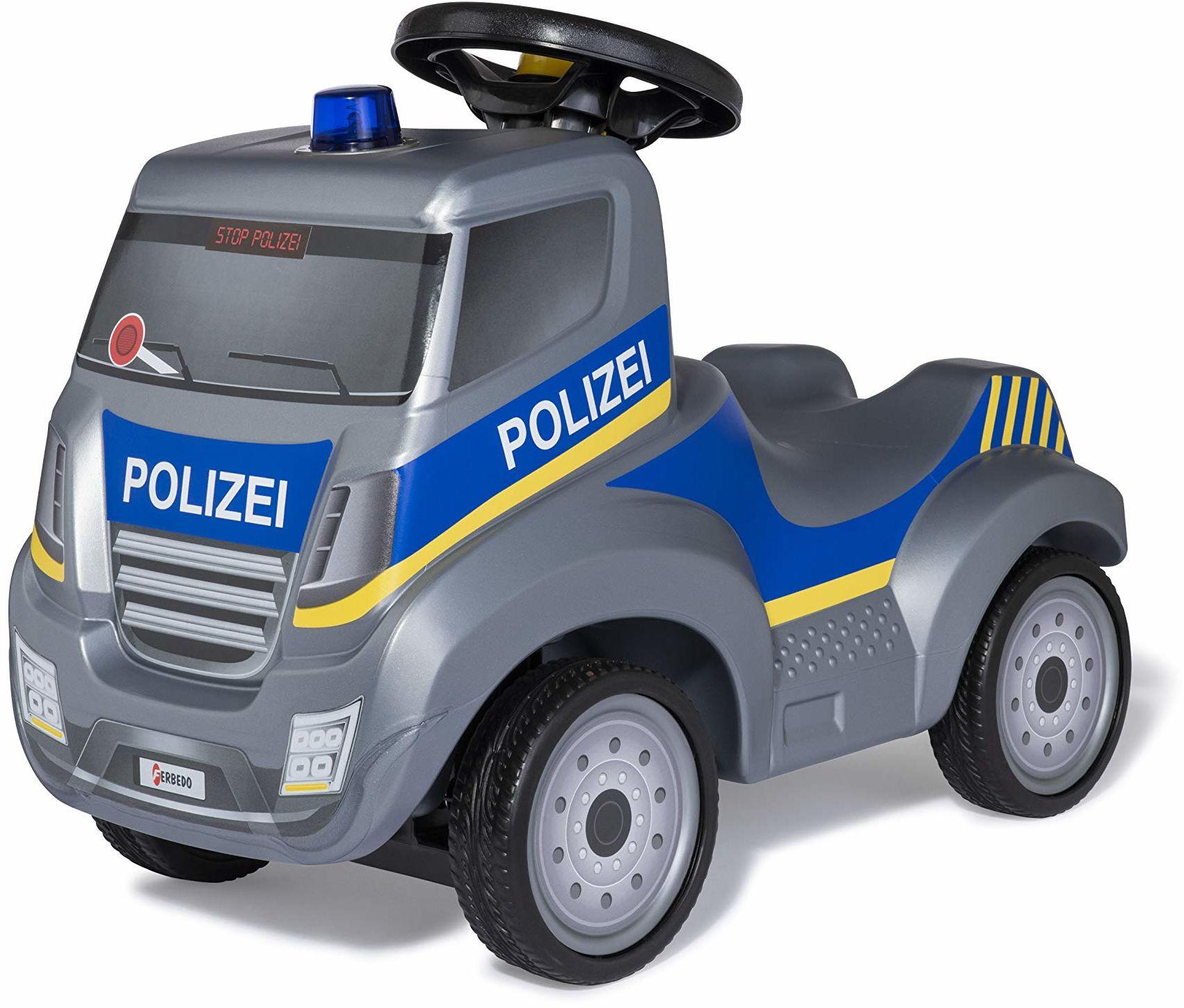 Ferbedo Policja zjeżdżalnia (zjeżdżalnia dla dzieci z niebieskim światłem + syrena, kierownica z klaksonem, pojazd policyjny z wgłębieniem na kolana, cicha opona biegowa) 171106
